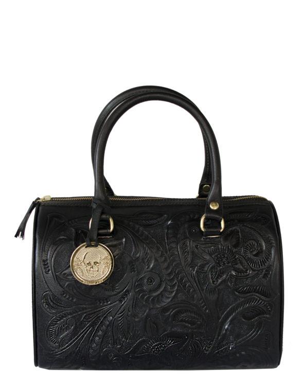 Leather chiselled medium purse hand made black