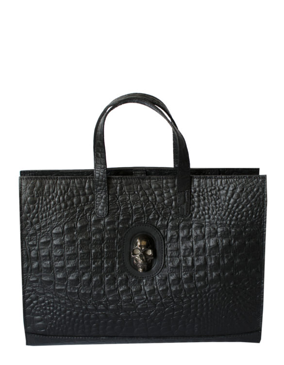 Hand made leather briefcase black