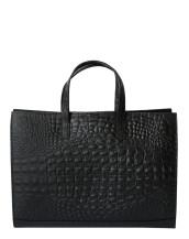Hand made leather briefcase black back