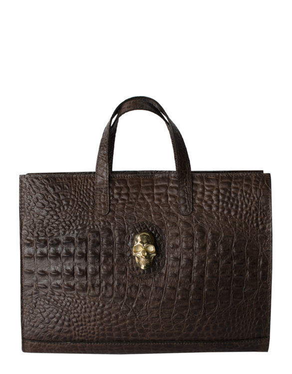 Hand made leather briefcase brown