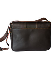 Leather sport brown briefcase back