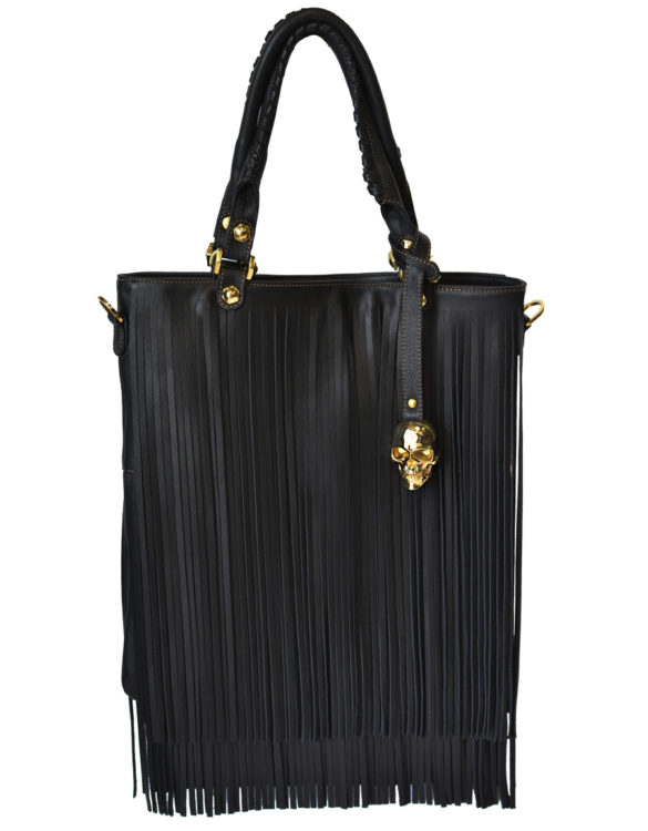 Hand made black fringed bag