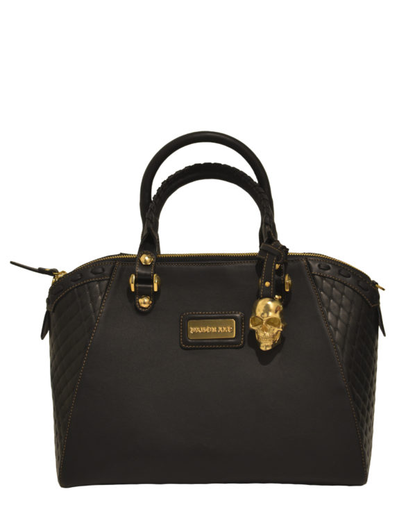 Hand made medium black leather purse