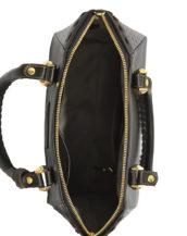 Hand made medium black leather purse inside