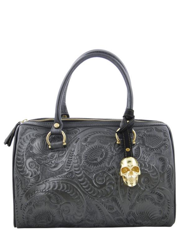 Leather chiselled medium purse hand made  dark silver