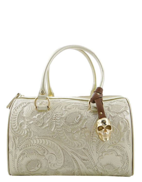 Leather chiselled medium purse hand made gold