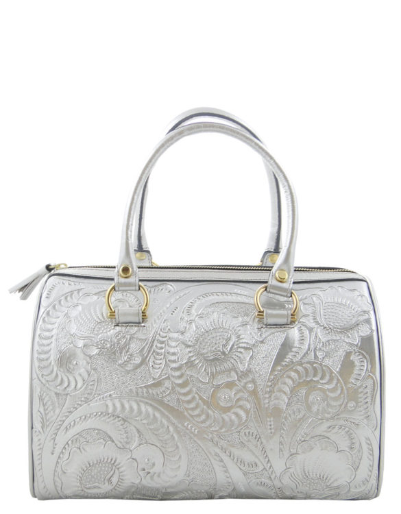 Leather chiselled medium purse hand made silver