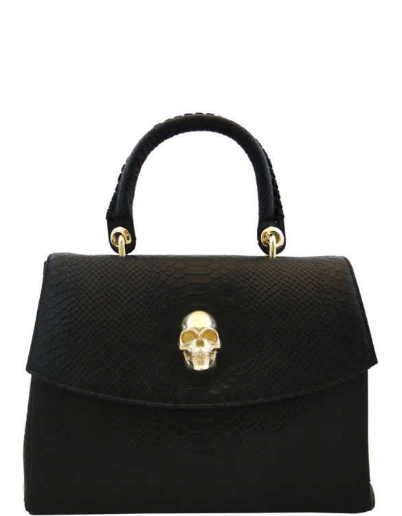 Black and gold leather hand made purse