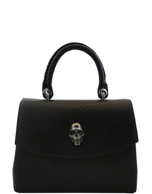 Black leather hand made purse