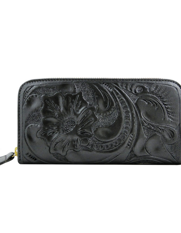 Leather hand made chiselled dark silver wallet