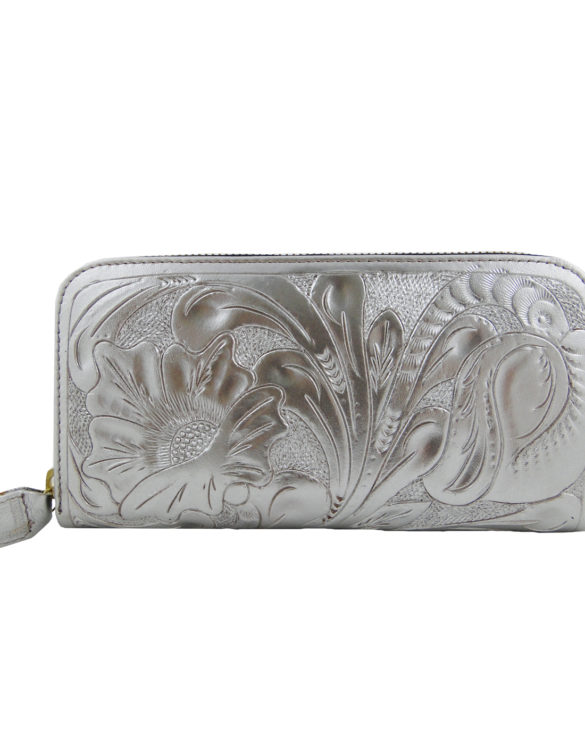 Leather hand made chiselled silver wallet