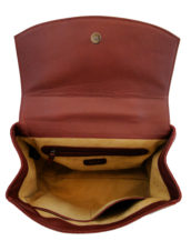 Maroon leather hand made purse inside