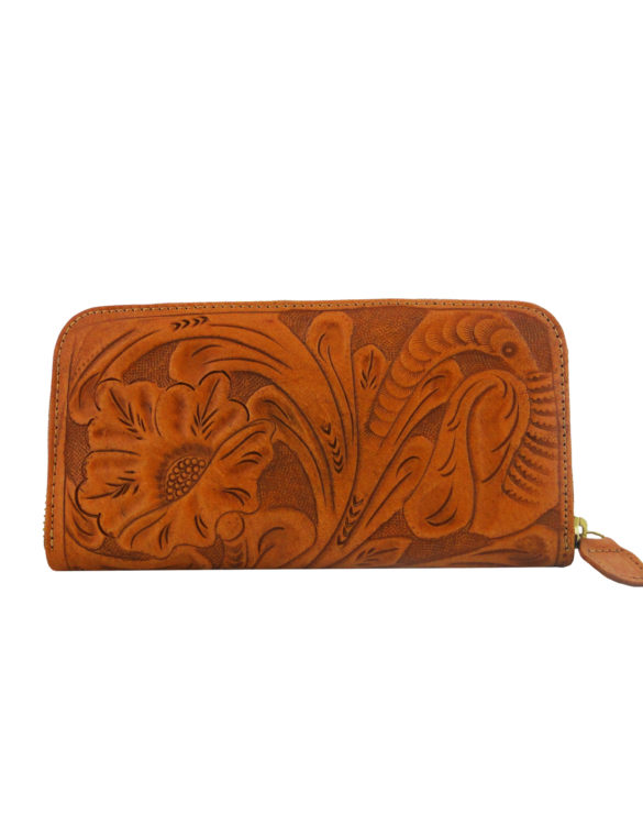 Chiselled wallet brown