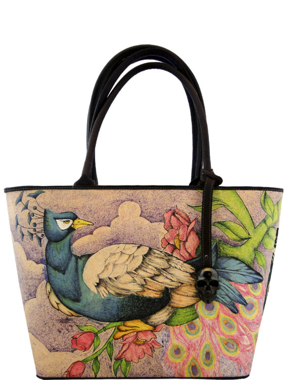 Big handmade tattoo leather peacok bag