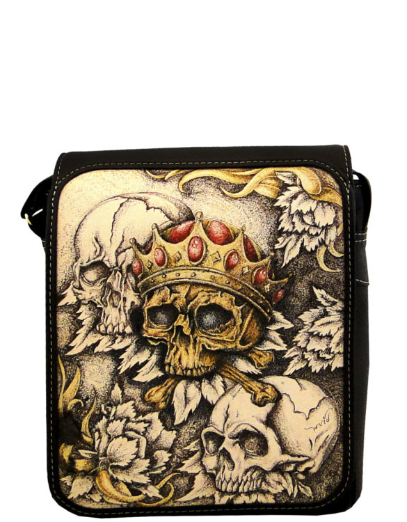 Badger handmade leather tattoo men bag king skull