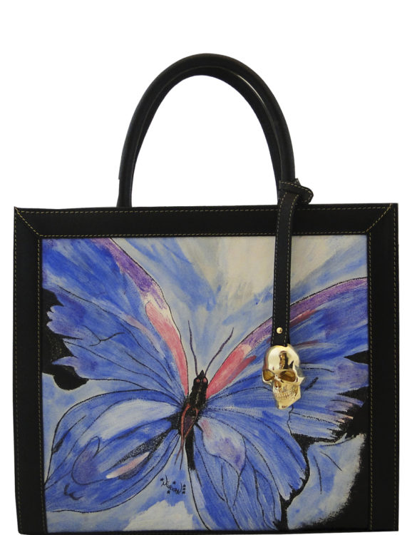 Hand made tattoo butterfly big square bag back