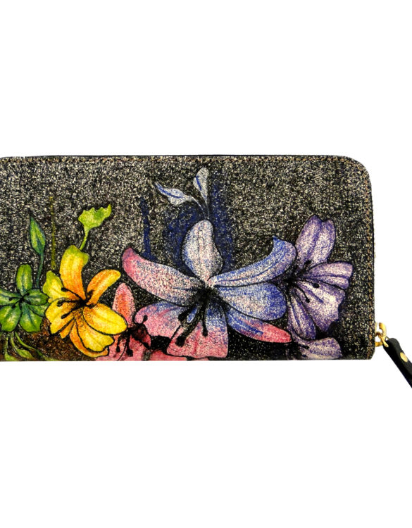 Leather hand made tattoo wallet flowers