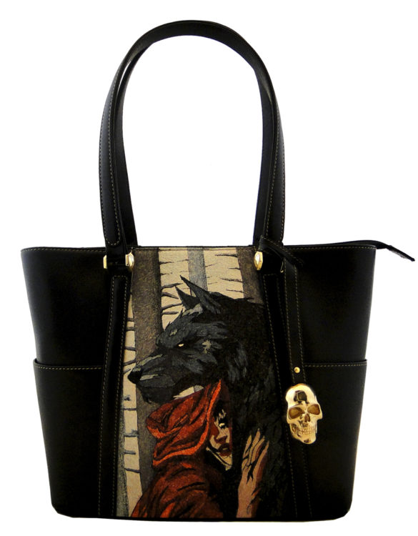 Hare hand made tattoo leather red riding hood and wolf bag