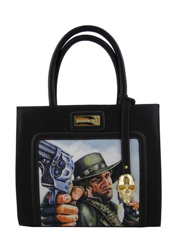 Horse leather purse hand made tattoo man with gun