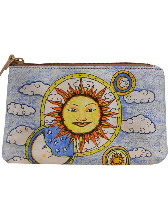 Makeup bag handmade tattoo sun and moon