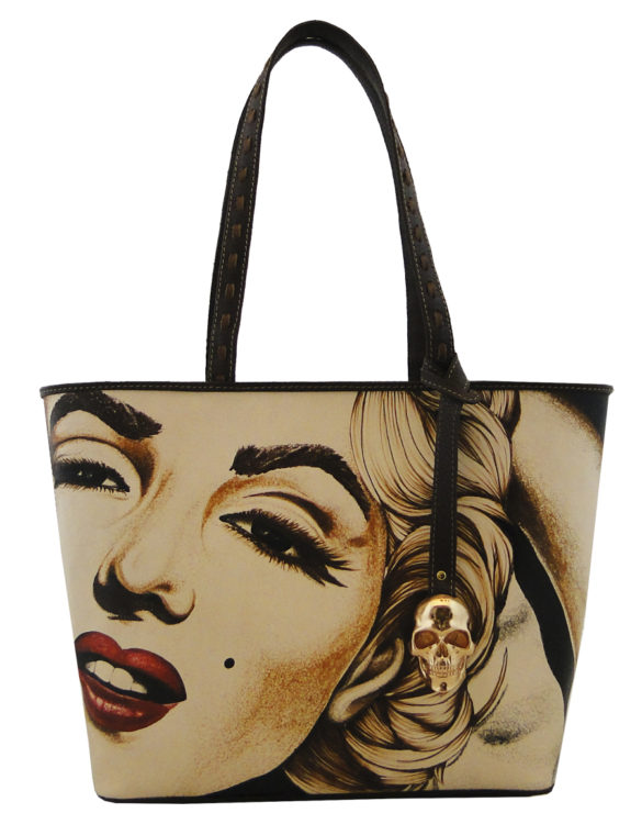 No side handmade tattoo leather bag Marilyn