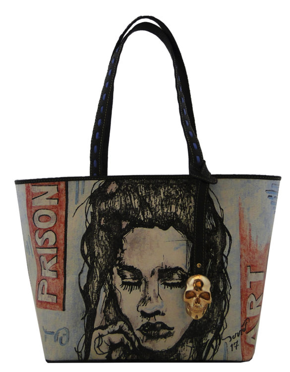 No side handmade tattoo leather bag prison