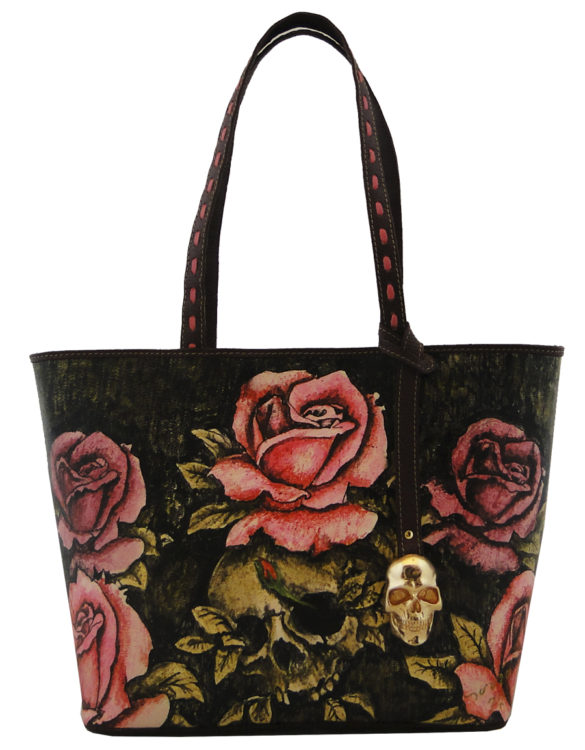 No side handmade tattoo leather bag skull and flowers