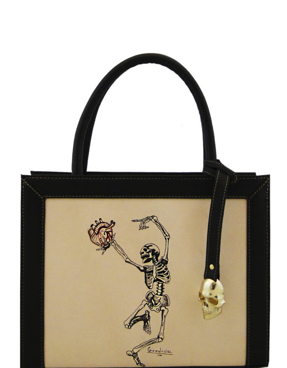 Square (small) handmade tattoo dancing skull bag