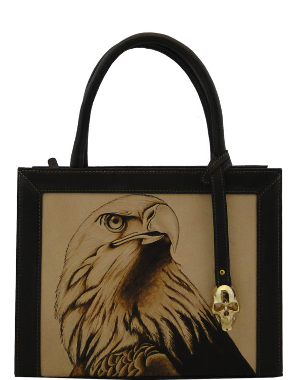 Square (small) handmade tattoo eagle bag