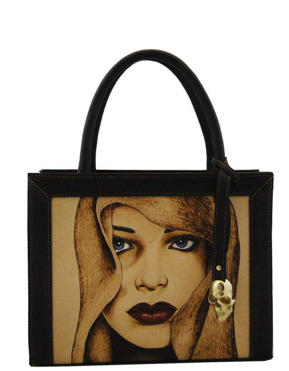 Square (small) handmade tattoo woman bag
