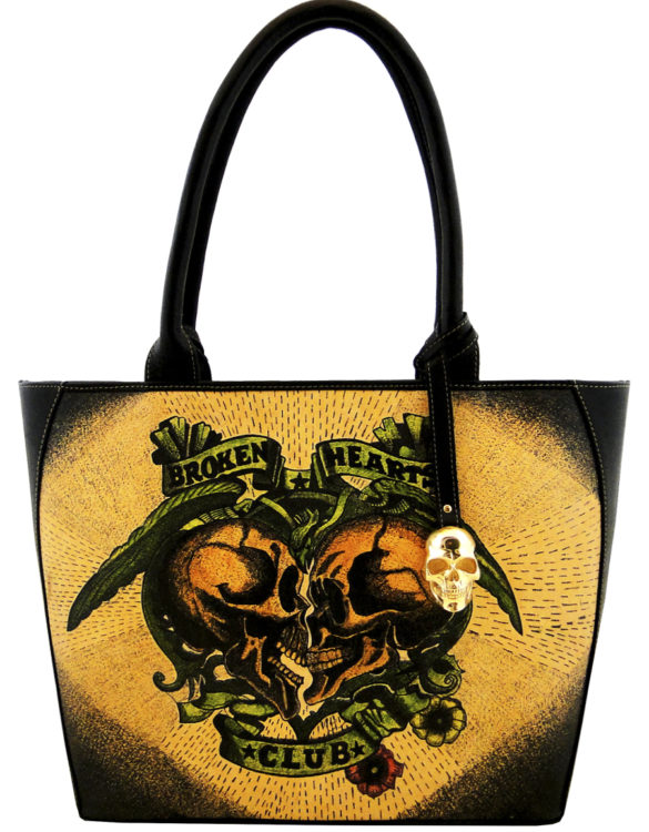 Oval handmade tattoo leather broken heart bag