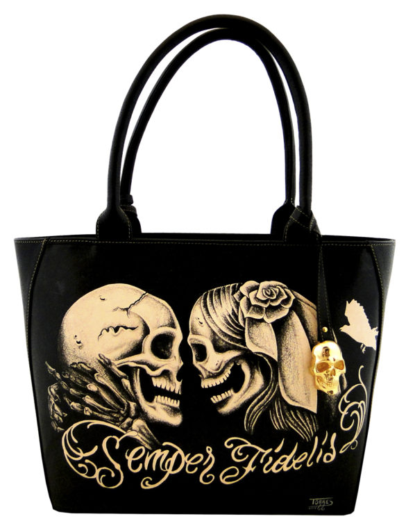 Oval handmade tattoo leather semper fidelis bag