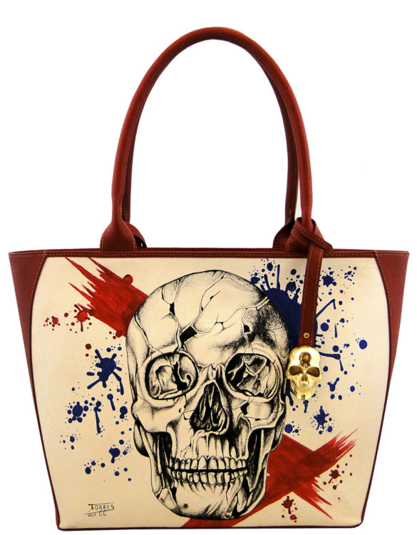 Oval handmade tattoo leather skull bag