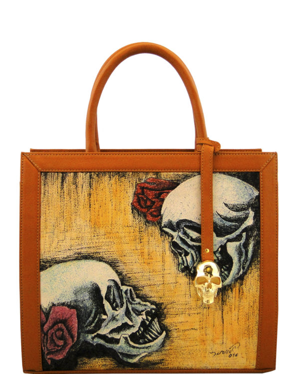 Two face handmade leather tattoo love skulls bag(big)