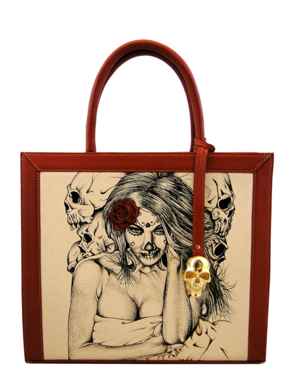 Two face handmade leather tattoo sexy catrina bag(big)