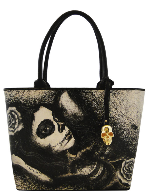 Big handmade tattoo leather catrina bag