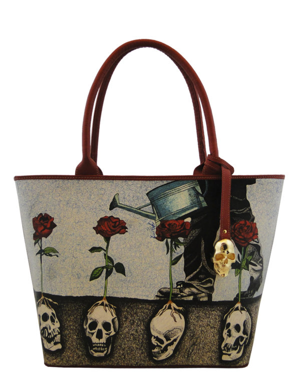 Big handmade tattoo leather growing roses bag
