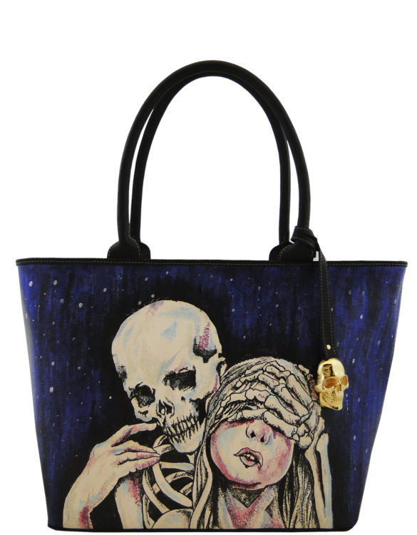 Big handmade tattoo leather skull at night bag