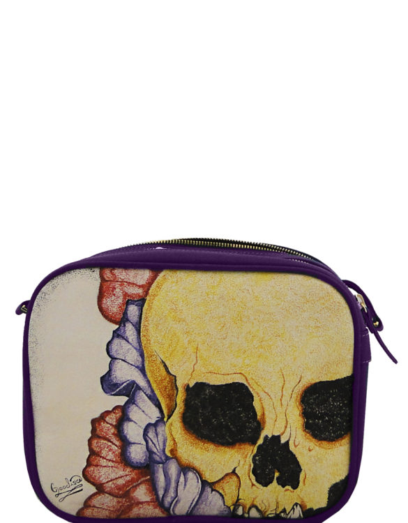 Hand made tattoo two zipper skull crossbody