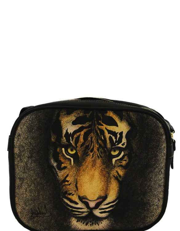 Hand made tattoo two zipper tiger crossbody