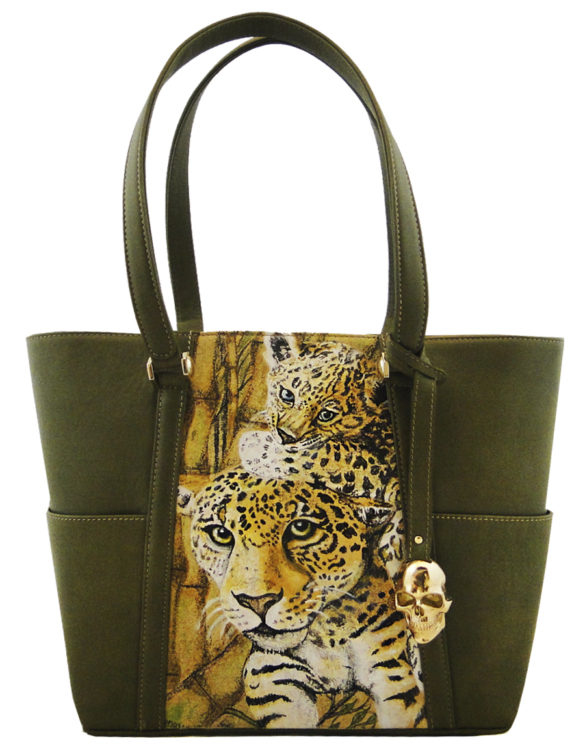 Hare hand made tattoo leather leopard bag