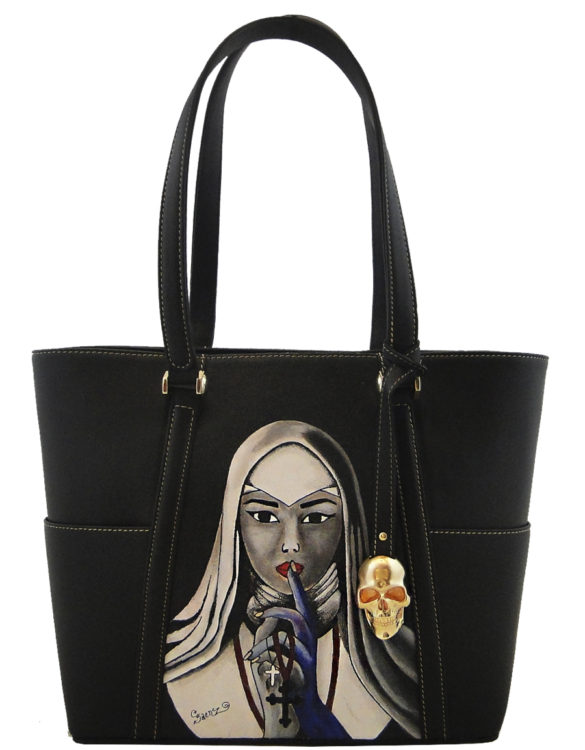 Hare hand made tattoo leather nun bag