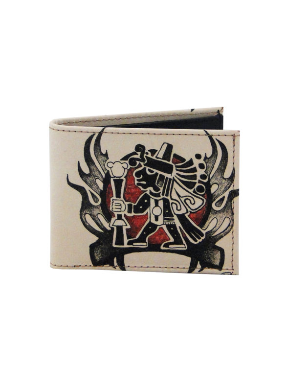 Leather hand made tattoo aztec men wallet