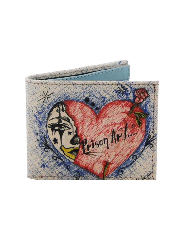Leather hand made tattoo heart men wallet