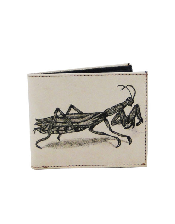 Leather hand made tattoo paying mantis men wallet