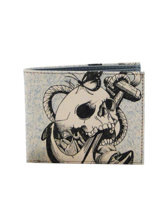 Leather hand made tattoo skull and anchor men wallet