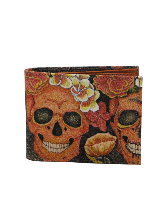 Leather hand made tattoo skull and flowers men wallet
