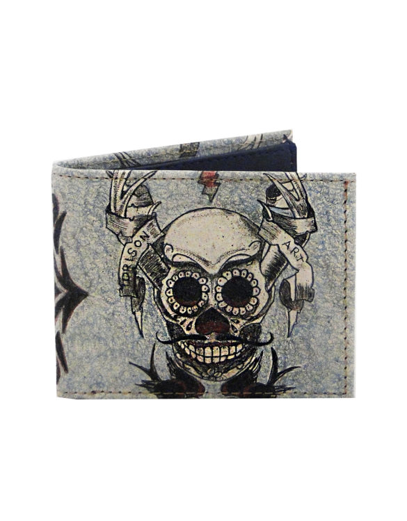 Leather hand made tattoo skull men wallet