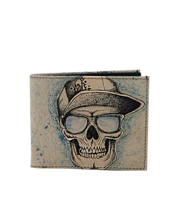 Leather hand made tattoo skull with glasses men wallet