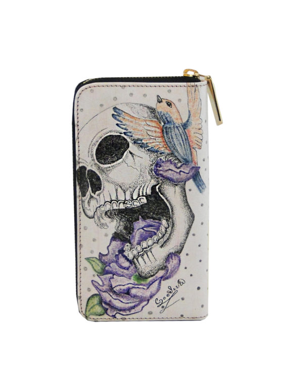 Leather hand made tattoo wallet bird and skull